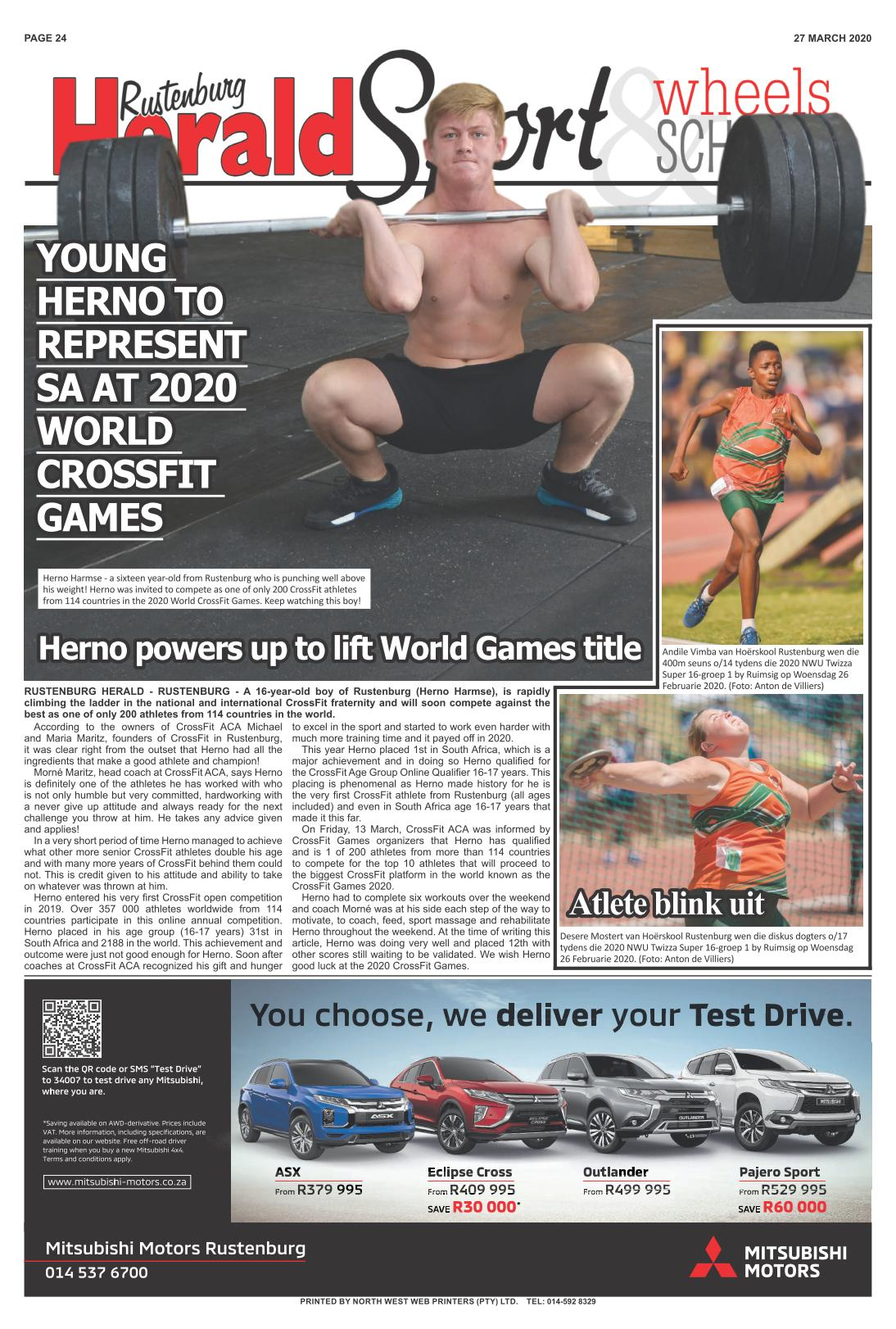 Young Herno to represent SA at 2020 World CrossFit Games