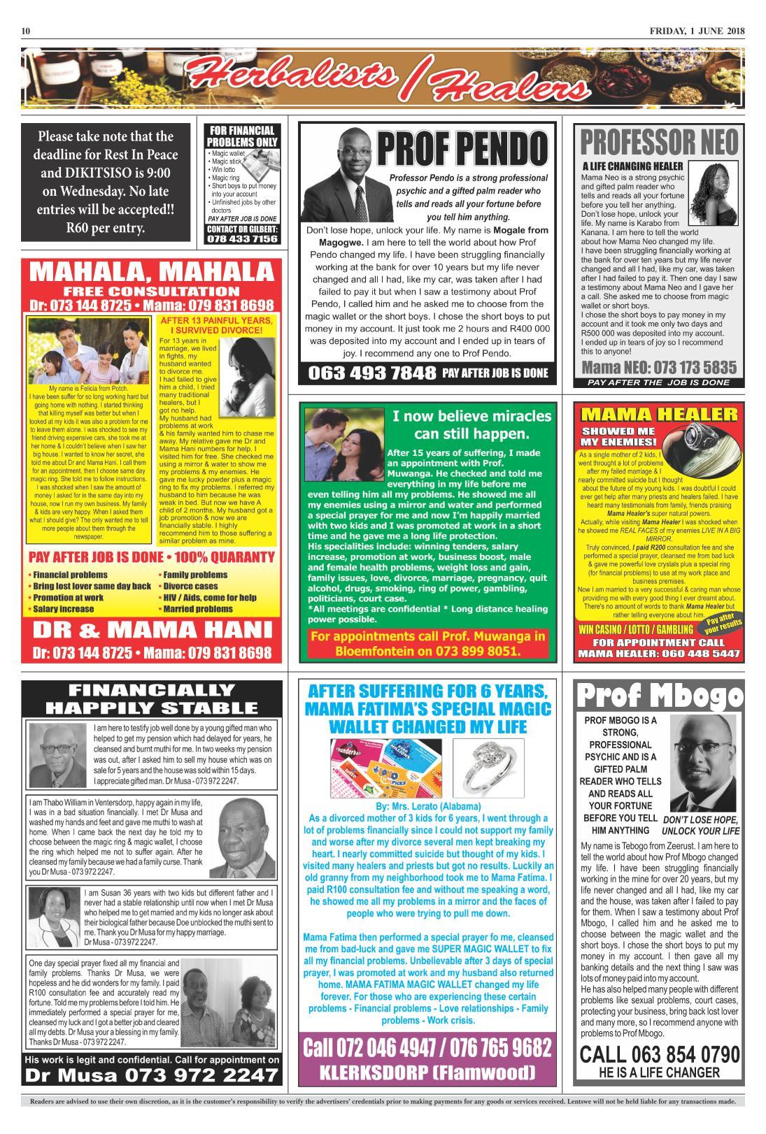 www salocalnewspapers co za - /newspapers/lentswe/previousnewspapers